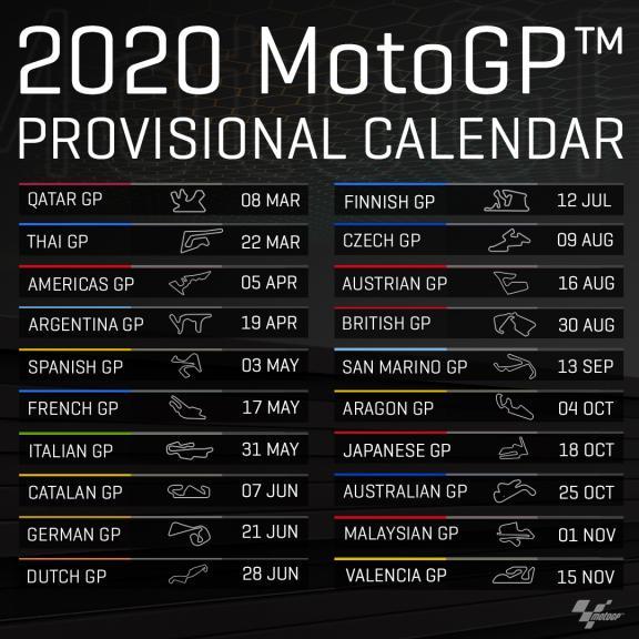 2020 Provisional Calendar