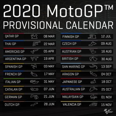 Calendario Gare Moto Gp 2020.Motomondiale Pubblicato Il Calendario Provvisorio Per La