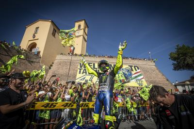Hometown hero: Rossi revs through Tavullia
