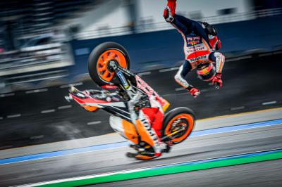 Marquez, la sequenza dell'highside della FP1