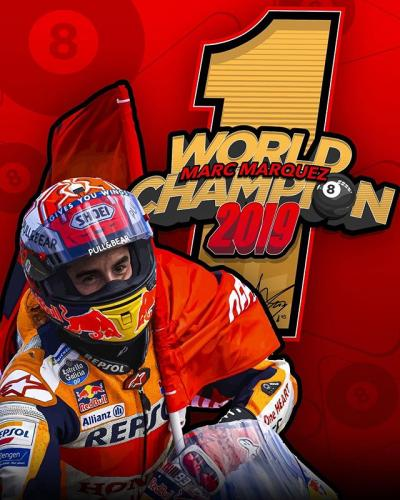 Your 2019 #MotoGP World Champion @marcmarquez93 // #8ball #ThaiGP #MM93