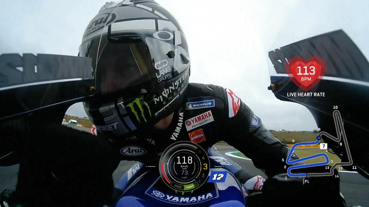 How fast does a riders heart beat when he's on a hot lap?