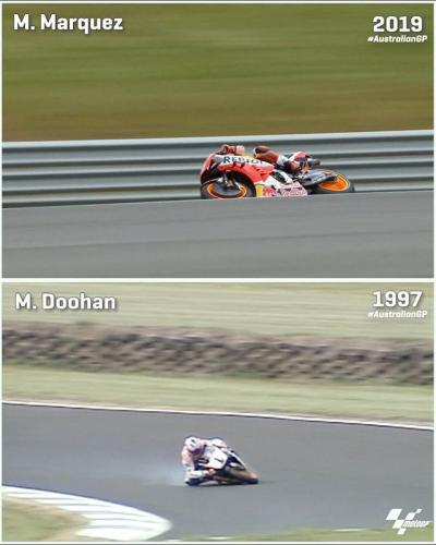 Watch how @marcmarquez93 compares against the man who the corner