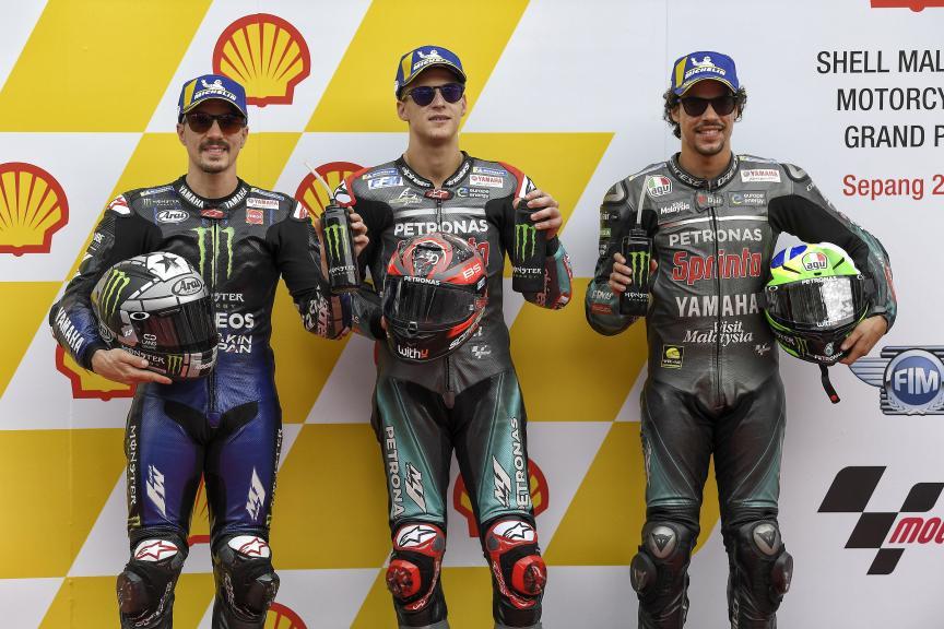 Maverick Viñales, Fabio Quartararo, Franco Morbidelli, Shell Malaysia Motorcycle Grand Prix