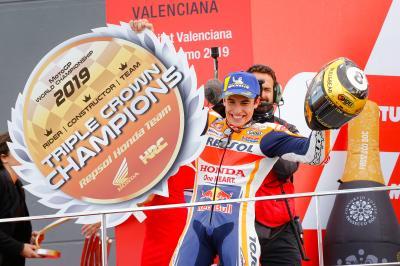 Márquez rubrica la Triple Corona con Lorenzo en Valencia