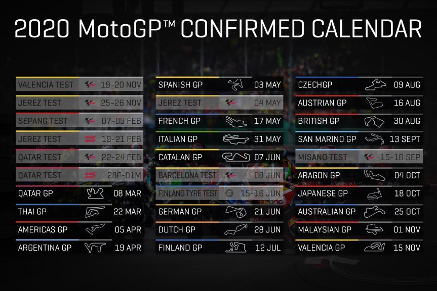 MotoGP 2020 confirmed calendar