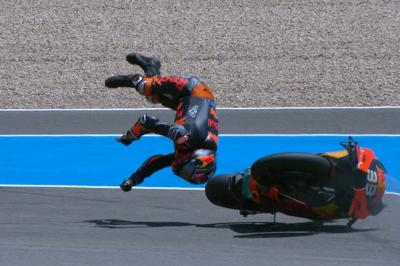 Binder viciously whipped off of his KTM in Turn 13 crash