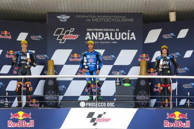 Bastianini, Marini e Bezzecchi: primo podio azzuro in Moto2™