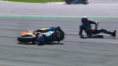 Lowes' bike catches fire after a weird highside into Turn 3