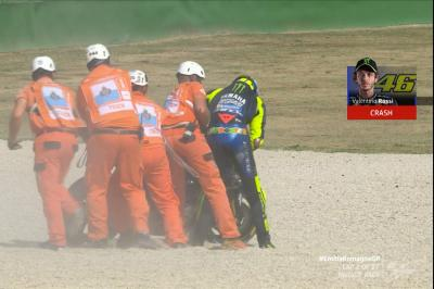 Rossi tucks the front and crashes out of his home GP