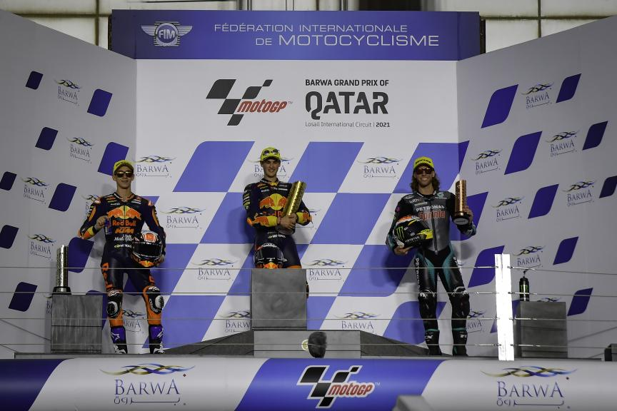 Jaume Masia, Pedro Acosta, Darryn Binder, Barwa Grand Prix of Qatar