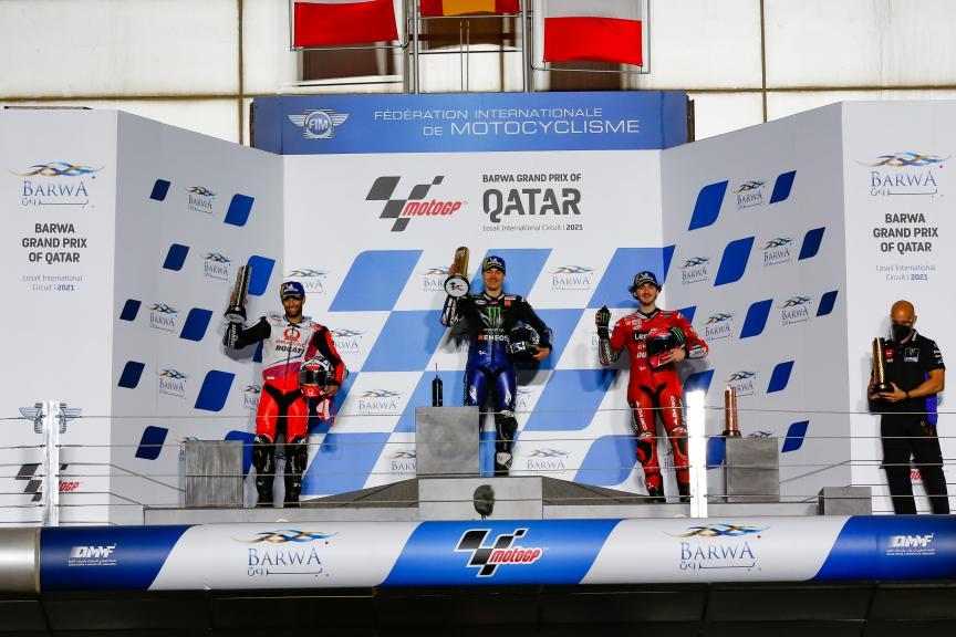 Johann Zarco, Maverick Viñales, Francesco Bagnaia, Barwa Grand Prix of Qatar