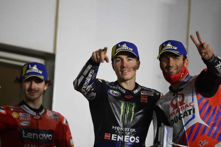 Francesco Bagnaia, Maverick Viñales, Johann Zarco, Barwa Grand Prix of Qatar