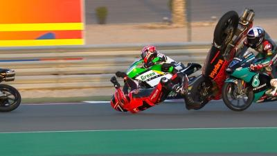 Major late crash takes out two Moto3™ race favourites!