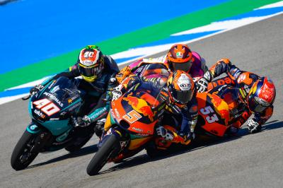 Last corner carnage as three Moto3™ contenders wiped out
