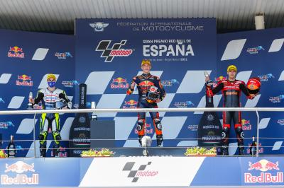Moto3™ rostrum reactions: Acosta, Fenati and Alcoba