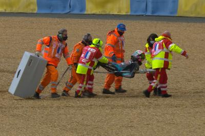 Morbidelli climbs off the stretcher to try salvage a point