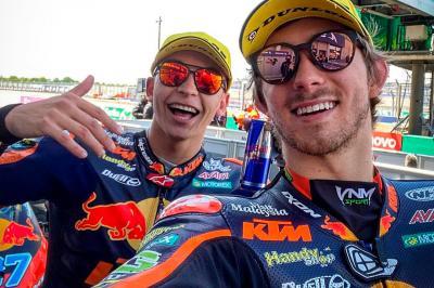 Moto2™ rostrum reactions: Fernandez, Gardner and Bezzecchi