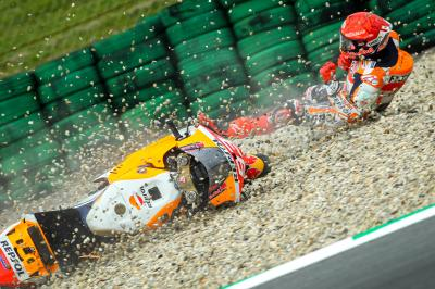 """Every angle and reaction from Marc Marquez's """"lucky escape"""""""