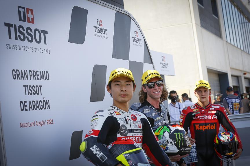 Darryn Binder,Gabriel Rodrigo, Tatsuki Suzuki, Gran Premio TISSOT de Aragón