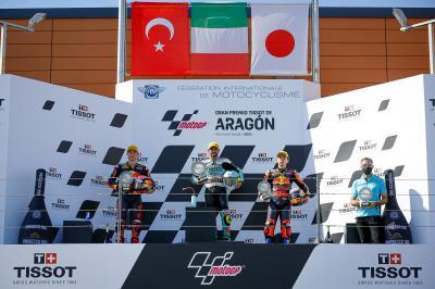 Moto3™ rostrum reactions: Foggia, Öncü, Sasaki